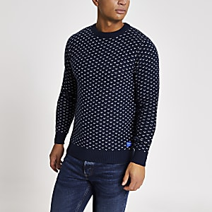 Jack and Jones – Marineblauer Strickpullover mit Stickerei