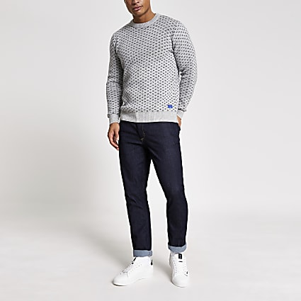 Jack and Jones grey embroidered knit jumper