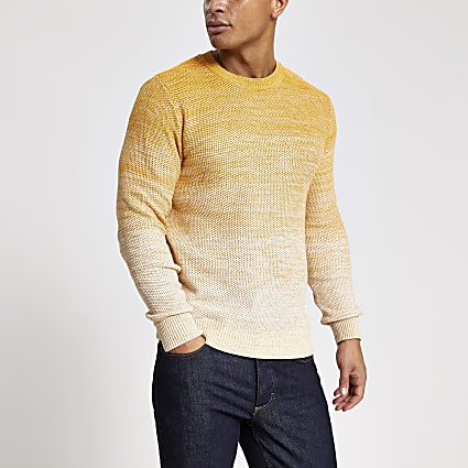Jack and Jones yellow ombre knitted jumper