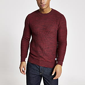 Jack and Jones – Roter, texturierter Strickpullover