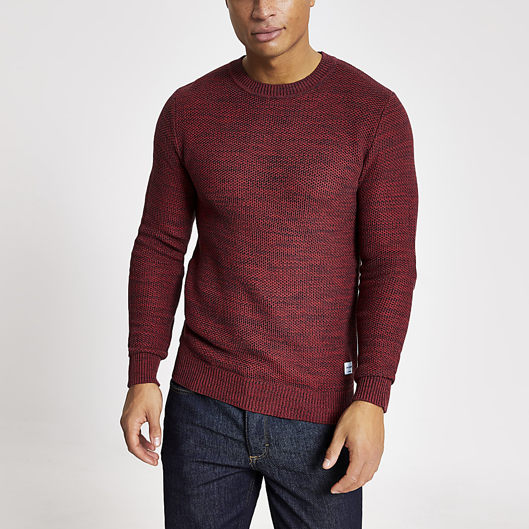 Jack and Jones red textured knitted jumper