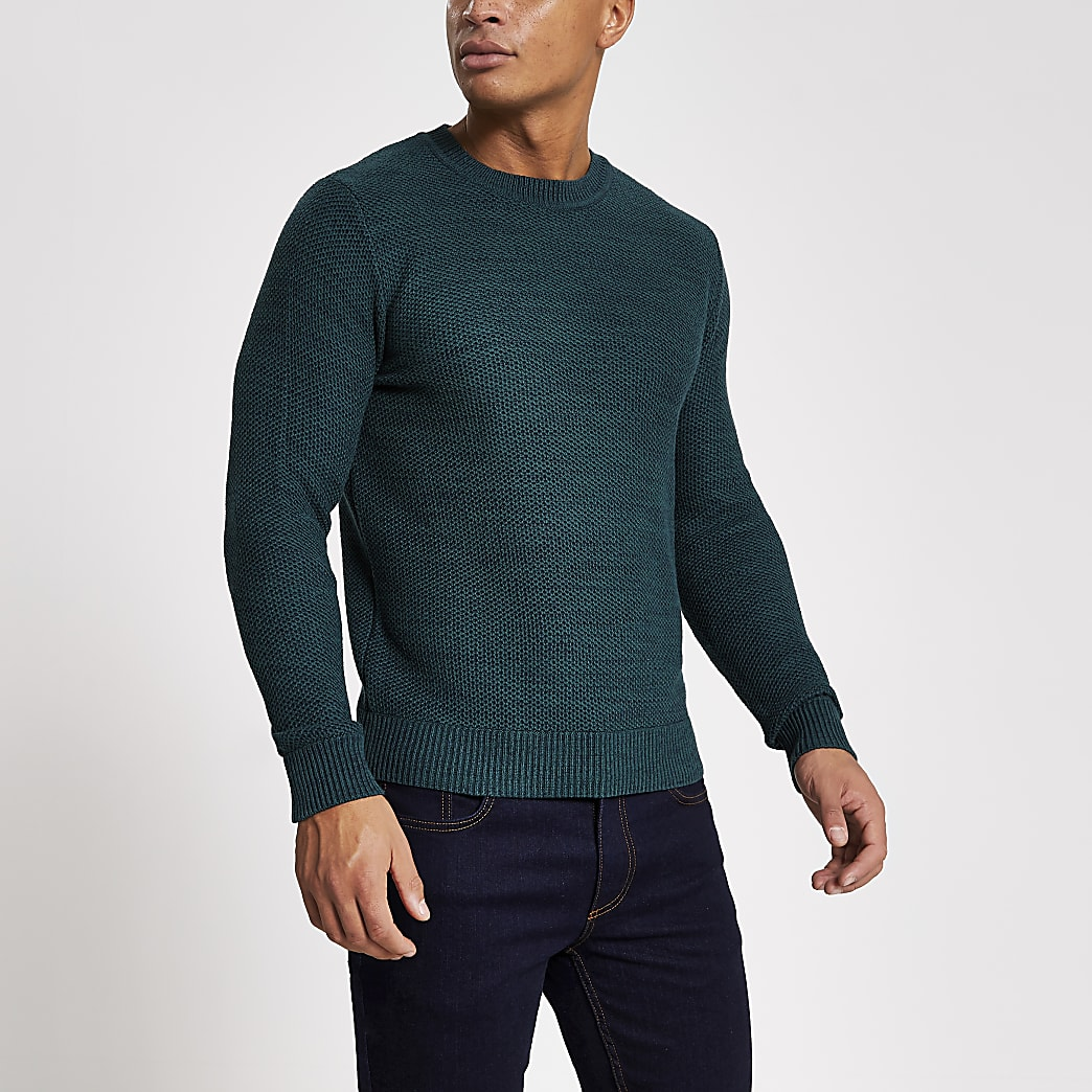 Jack and Jones dark green knitted jumper