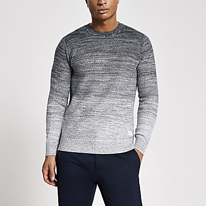 Jack and Jones navy ombre knitted jumper