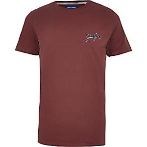 Jack and Jones – Kurzärmeliges T-Shirt in Rot