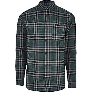 Jack and Jones - Donkergroen geruit overhemd