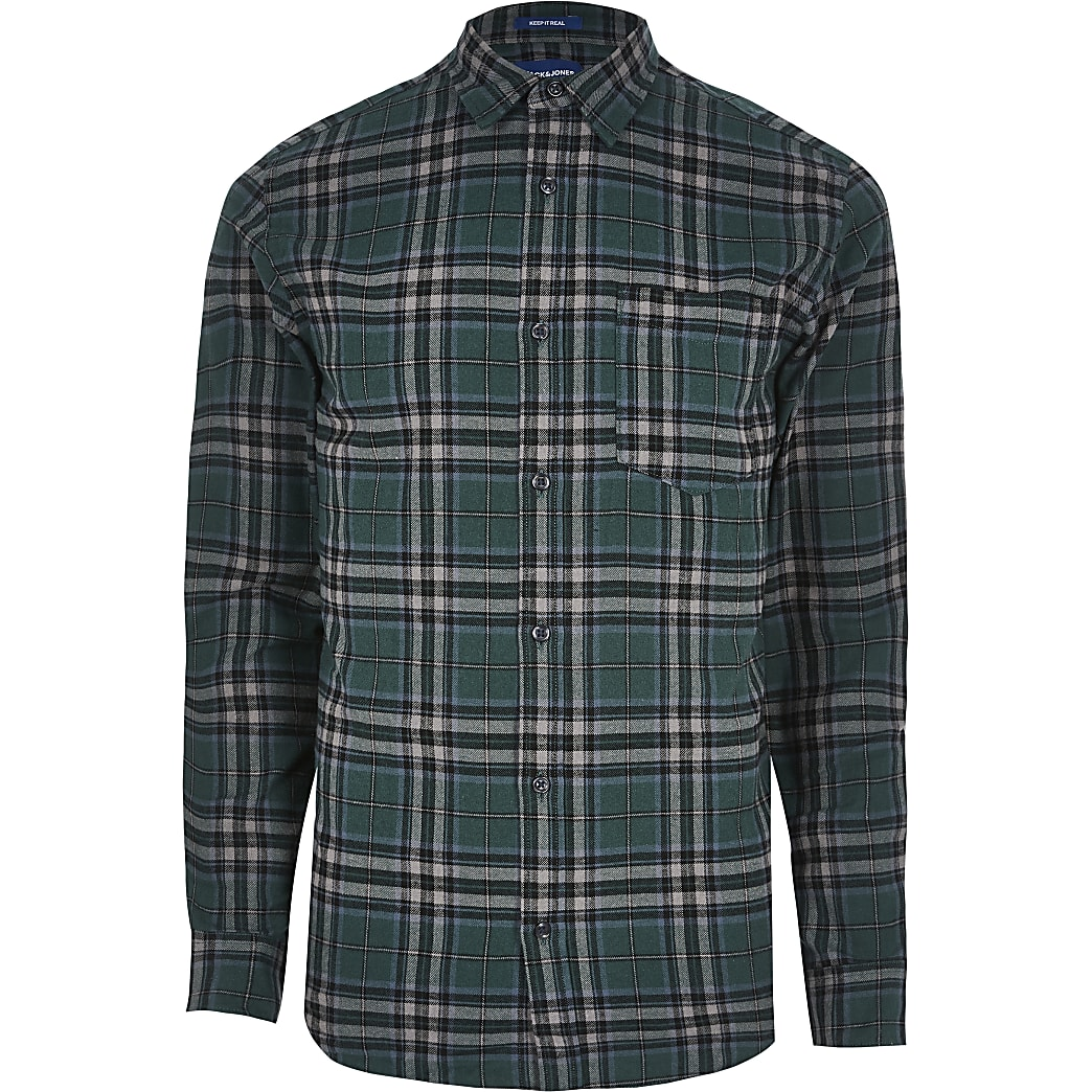 Jack and Jones dark green check shirt