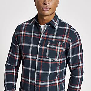 Jack& Jones –Chemise à carreaux bleu marine