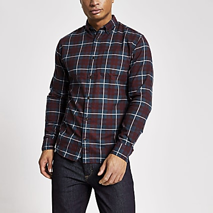 Jack and Jones dark red check shirt