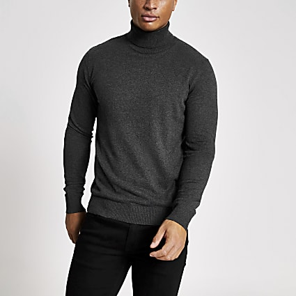 Jack and Jones grey roll neck knitted jumper