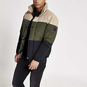 Jack and Jones – Doudoune grège colour block