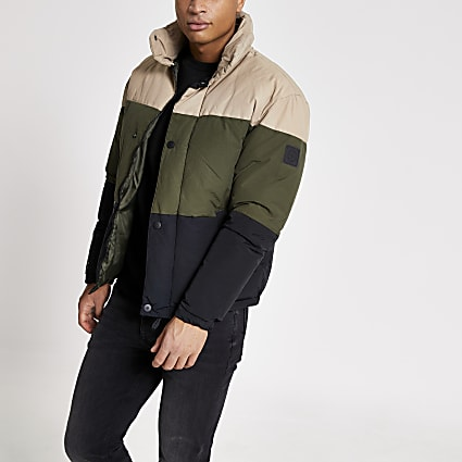 Jack and Jones stone blocked puffer coat