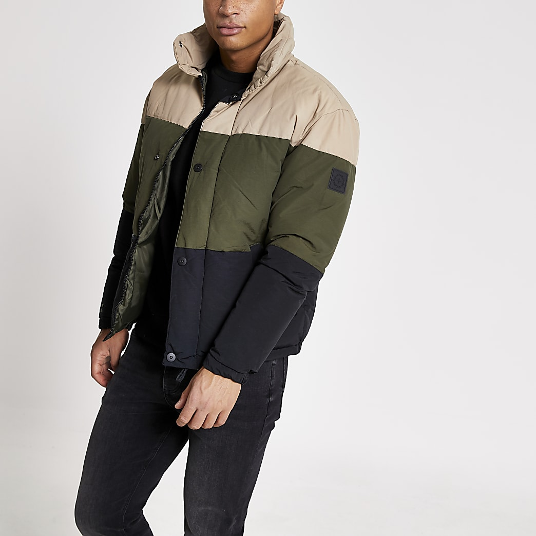 Jack and Jones - Kiezelkleurige gewatteerde jas met kleurvlakken
