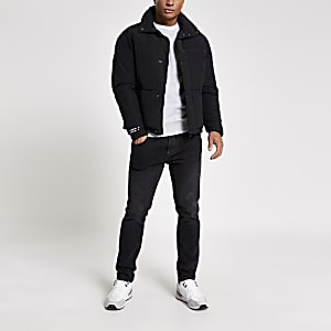 Jack and Jones – Kurze Stepp-Pufferjacke in Schwarz