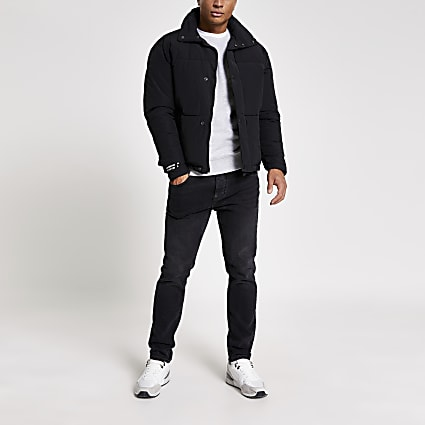 Jack and Jones black padded short puffer coat