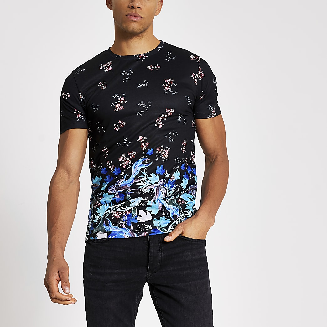 Black mixed print muscle fit T-shirt