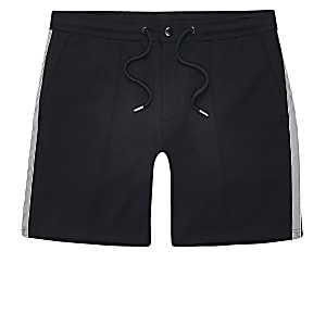 Big and Tall - Marineblauwe jersey shorts met bies