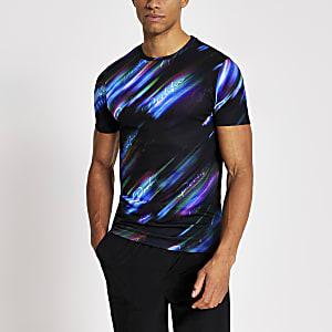 Prolific – Schwarzes T-Shirt im Muscle Fit mit Muster