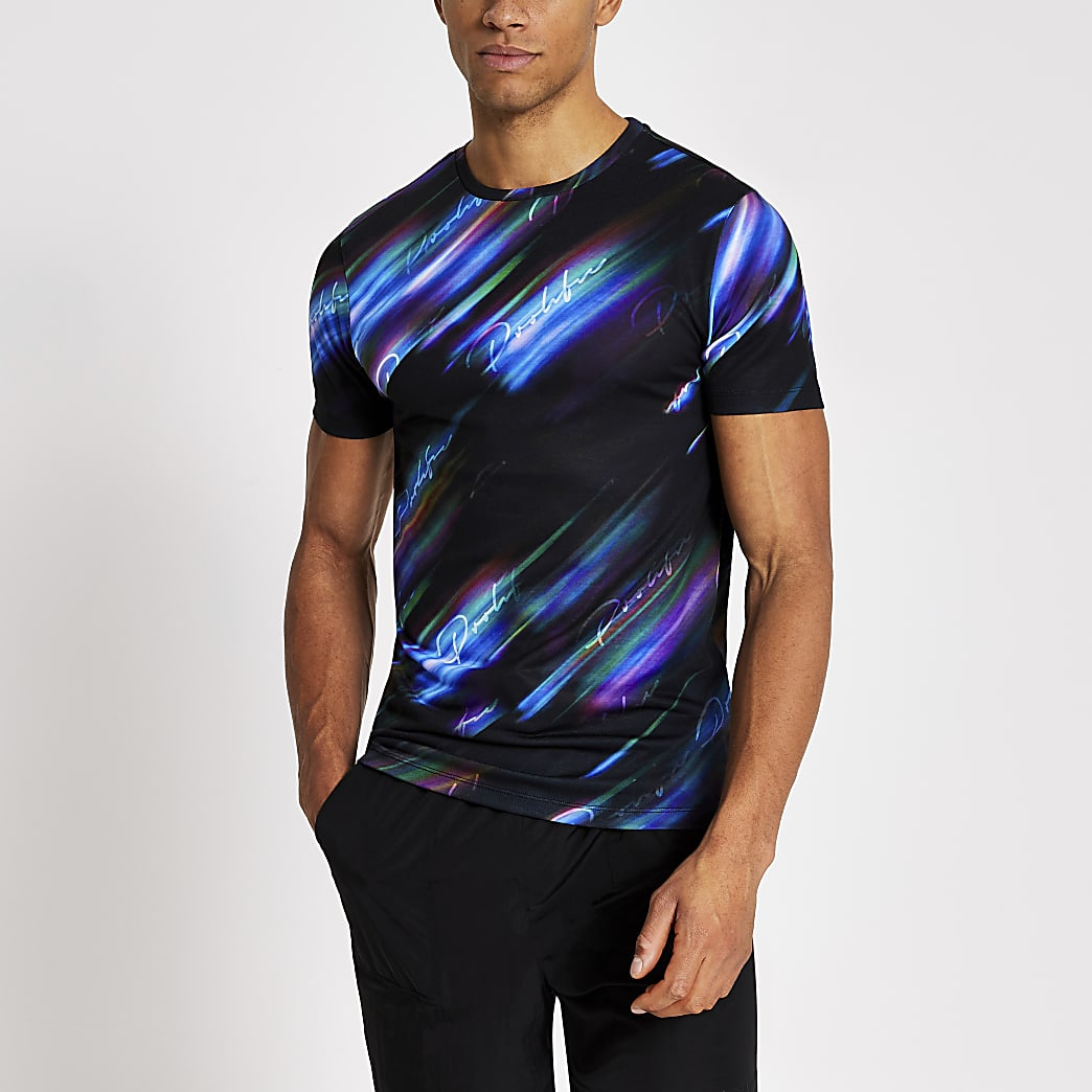 Prolific black printed muscle fit T-shirt