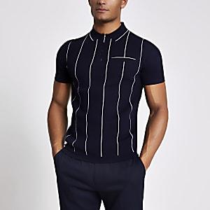 Marineblaues Slim Fit Poloshirt aus Strick mit kurzem Reißverschluss und Streifen