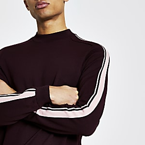 Pull en maille rayéà manches longues rouge