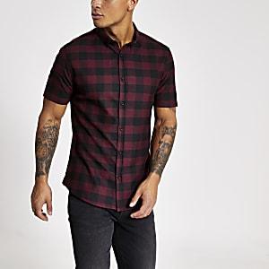 Donkerrood geruit slim-fit overhemd met korte mouwen