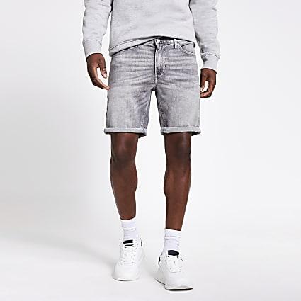 Grey Dylan slim fit denim shorts