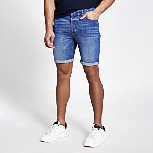 Dylan - Blauwe slim-fit denim short