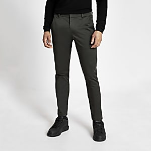 Dark green skinny smart chino trousers