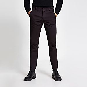 Dark red skinny smart chino trousers
