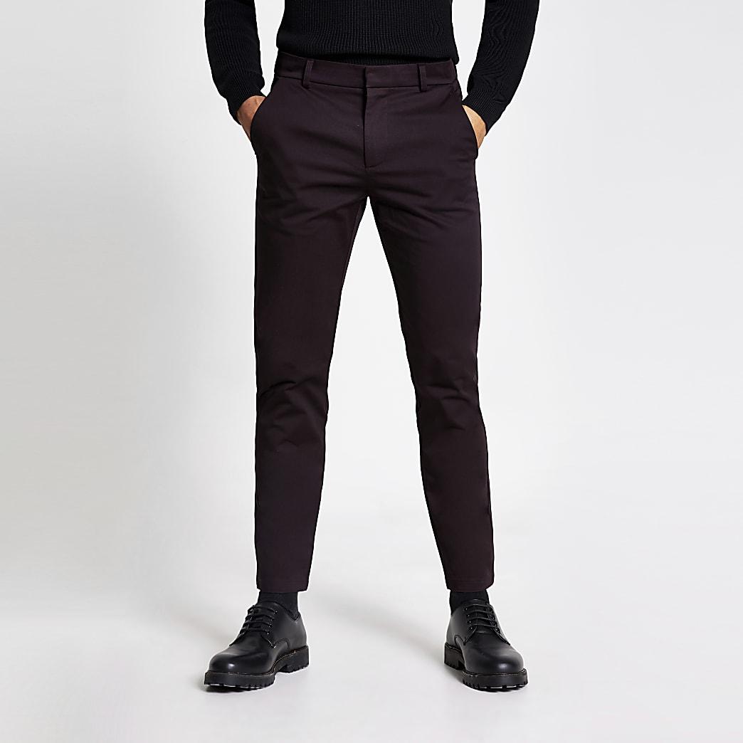 Dark red skinny chino trousers
