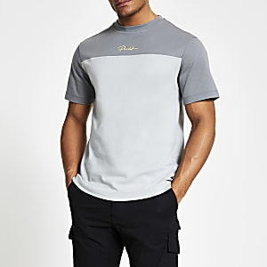 Prolific – T-shirt slim gris colour block