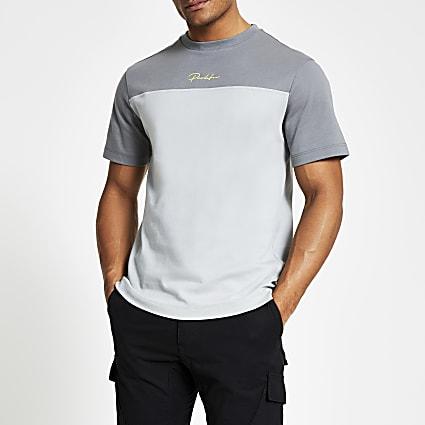 Prolific grey blocked slim fit T-shirt