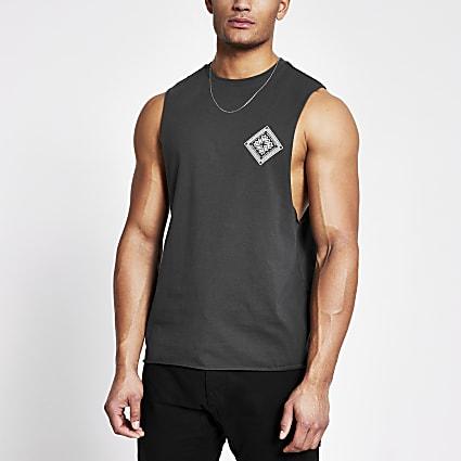 Grey printed muscle fit tank top