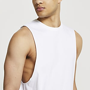 White muscle fit tank top