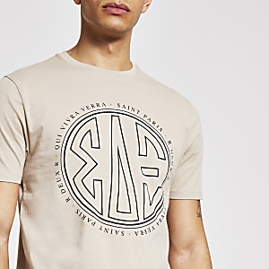 Steingraues Slim Fit T-Shirt mit Print