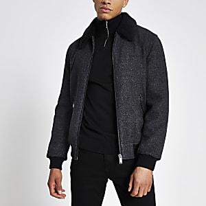 Graue Jacke mit Borg-Kragen und Reißverschluss