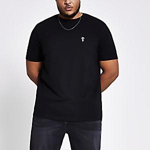 T-shirt slim noir brodé