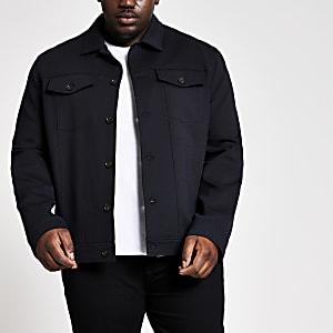 Big and Tall – Schwarze Jacke mit Knopfleiste vorne