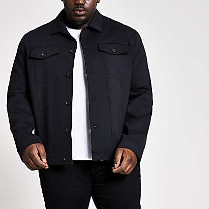 Big and Tall black button front jacket