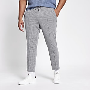 Big and Tall – Pantalon de jogging habillé skinny gris à carreaux
