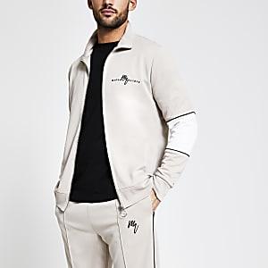 Maison Riviera - Beige sweater met rits voor