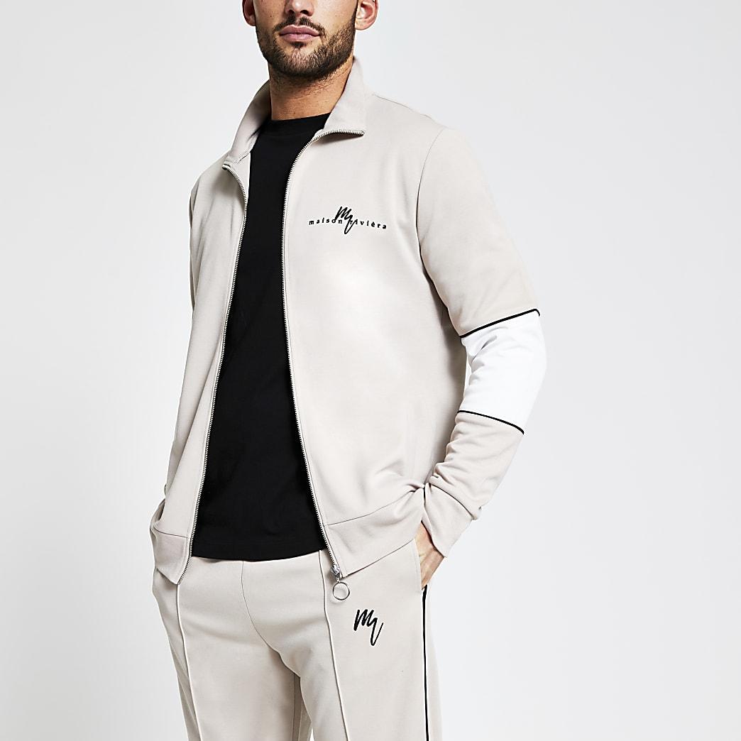 Maison Riviera beige zip front  sweatshirt