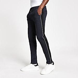 Marineblaue, elegante Skinny Fit Hose mit Struktur