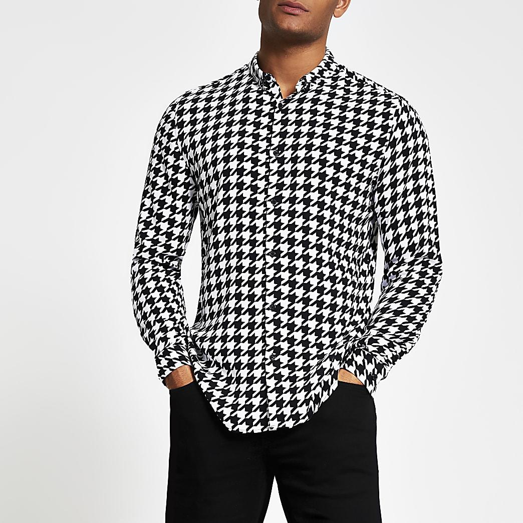Zwart slim-fit overhemd met pied-de-poule-motief