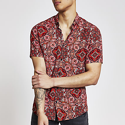 Red aztec short sleeve slim fit shirt