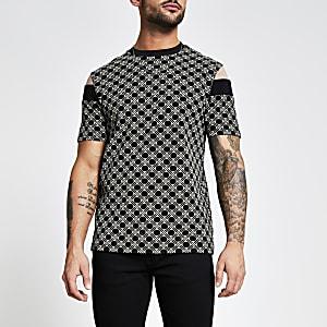 T-shirt slim noir imprimé géométrique colour block