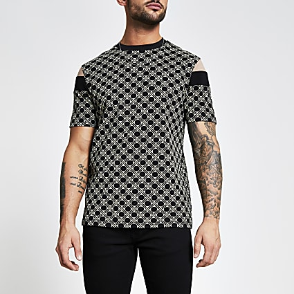 Black geo print blocked slim fit T-shirt