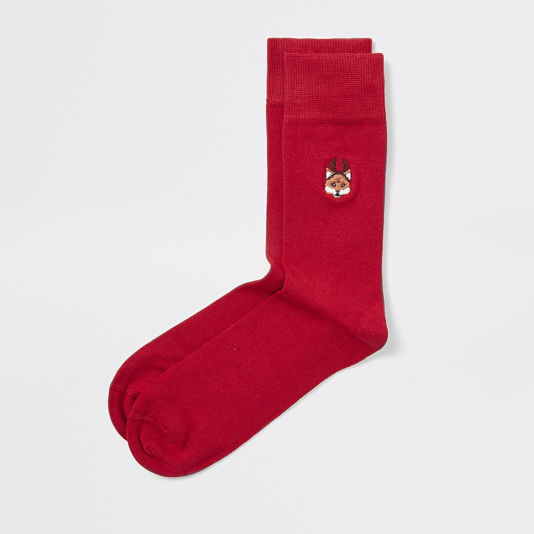 Red fox embroidered  Christmas socks