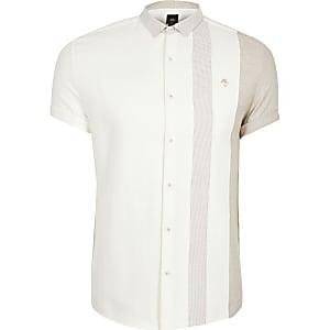Big and Tall- Ecru gestreept 'MaisonRiviera' overhemd