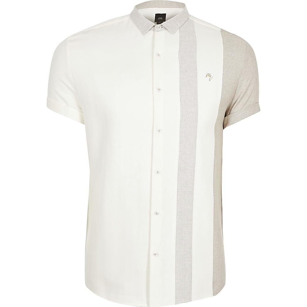 Big and Tall Maison Riviera Ecru stripe shirt